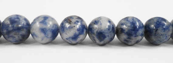 "Sodalite Stone Beads 8mm Round Sodalite Beads, White and Blue Gemstone Beads, Natural Stone Beads on a 7 1/4"" Strand with 23 Beads"