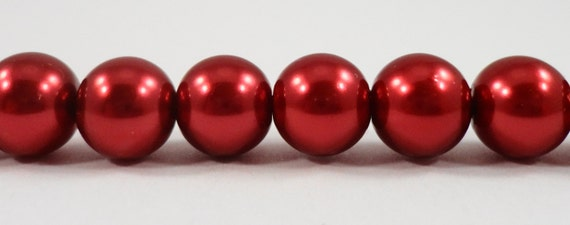 "Red Crystal Pearl Beads 8mm Round Glass Pearl Beads, Cranberry Red Pearl Beads, Imitation Pearl Beads on a 7 1/2"" Strand with 25 Beads"