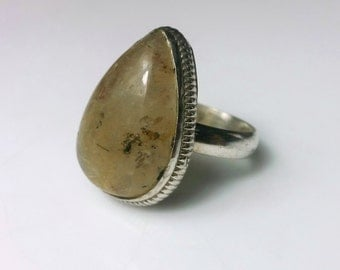 Chrysoberyl and Sterling Silver Cocktail Ring, Teardrop Shape SIZE 7.5, 7 1/2, Olive Green Stone, .925