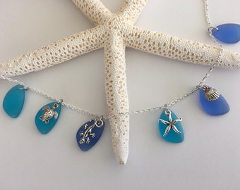 Blue Sea Glass with Ocean Charm Necklace
