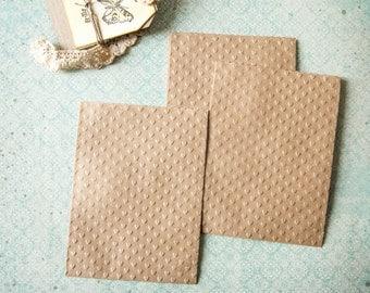 Gift bags kraft embossed little hearts 9,5cm x 12,5cm Lot of 10