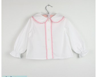Long sleeve white Blouse -  Peter pan collar with pink trim - Other trim colors available