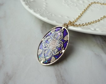 Gold Plated Cloisonne Enamel Purple Oval Pendant Necklace 0257