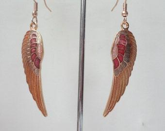 Victorian Edwardian Cloisonne Enamel Angel Wing Dangle Drop Earrings 0275