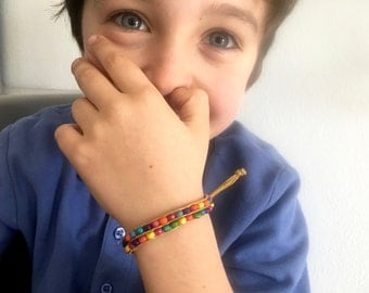 COLORFUL CHILD BRACELET, children jewelry, gift for little boy, toddler boy bracelet, cord bracelet for him, kid jewelry, handmade