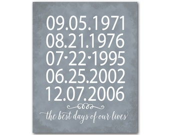 The best days of our lives Typography Wall Art - Important Dates Print - Valentines, Anniversary gift - gift for mom and dad, grandparents