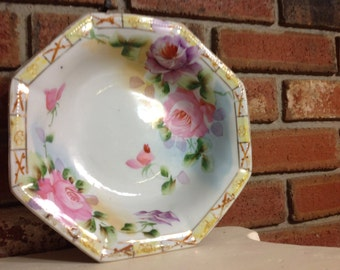 Vintage China J. E OH Hand Painted Nippon Octagon Rose Bowl
