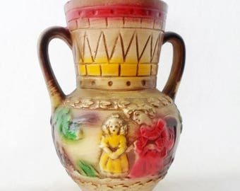 ON SALE Norleans, Japan, Pottery, Vase, Handled, Paddleboat, Riverboat, Mom, Girl, Faux Indian Pottery, Red, Green, yellow, Vintage