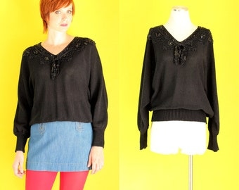 Vintage 80s Sequin Sweater - Black Sweater - Holiday Sweater - Embellished Sweater - Tie Neck Beaded Sweater - Sparkly Sweater - Size Large