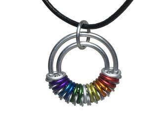 Round pendant on leather cord - Choose your color