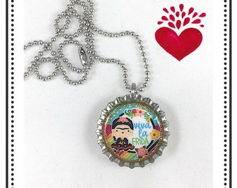 Frida Kahlo Necklace, Frida Jewelry, Viva la Frida, Bottle Cap Necklace, Frida Bottle Cap, Mexican Jewelry