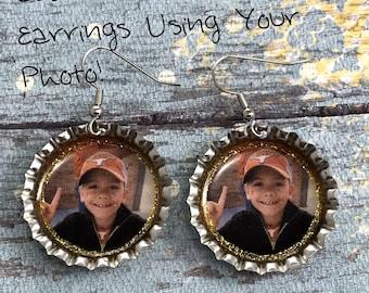 Custom Photo Earrings, Personalized Earrings, Customized Jewelry, Gift Idea, My Photo, Keepsake Jewelry, Mothers Jewelry, Bottle Cap Jewelry