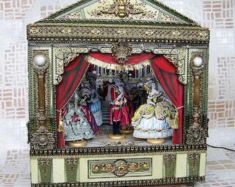 Puppet theater  with illumination . Handmade wooden puppet theatre. Wooden Theatre Toy Handcrafted miniature.