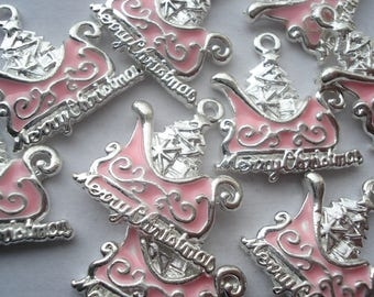 20mm Silver Plated Enamel Pendants, Christmas Tree With Pink Sled Charms Pack of 5 Christmas Charms CR12