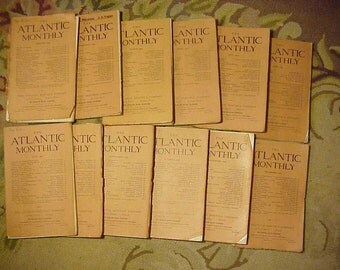 Full Year 1909 The Atlantic Monthly Magazines January - December published By Houghton, Mifflin New York, Antique Magazines with lots of Ads