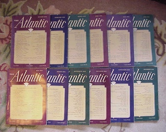 Full Year 1946 The Atlantic Monthly Magazines January - December published By Atlantic Monthly Boston, Antique Magazines with lots of Ads