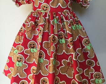 Size 2T......Gingerbread Dress.....Made and ready to be shipped.