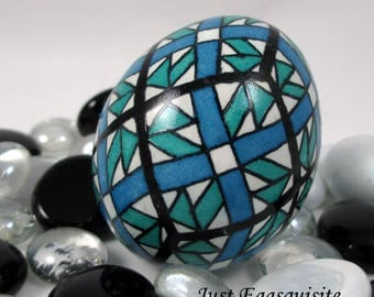 Pysanky Pisanki Ukrainian Polish Easter Egg Blue and Teal Quilt Hand Decorated Chicken Egg