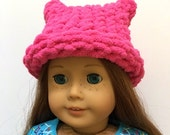 "American Girl Doll 18"" Hot Pink Pussy Hat Cat Ears - Soft Hand Knit - Women's March Hat"