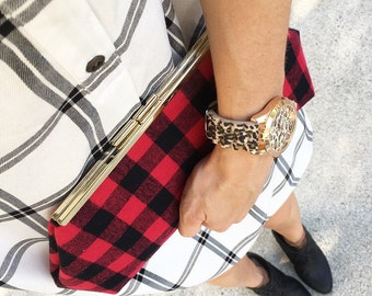 Red and black buffalo plaid clutch