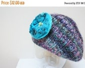BLACK FRIDAY SALE Slouch hat tam rasta beanie beret dread slouchy cap oversized knit Felt Blue Rose Flower Brooch Pin chunky handmade Wool P