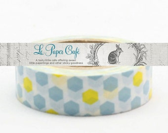 Blue & Yellow Hexagon Washi Tape - Paper/Scrapbook Washi Tape - Decorative/Crafting Tape - Packaging Supplies - 15mmx10m