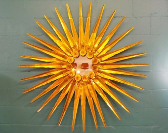 Massive mid century modern attributed Curtis Jere brass wall sculpture starburst mirror sculpture