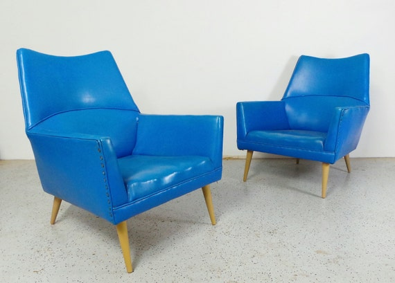 rare mid century modern Paul McCobb blue vinyl Squirm lounge chairs