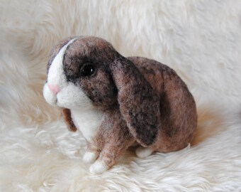 Custom Made Rabbit Portrait, Needle Felted Rabbit, Lop Eared Bunny, Standard Plush Lop, French Lop or any other breed - made to order