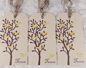 Friend Gift Tags, Friendship Gift Tags, Spring Gift Tags, Tree Gift Tags, Butterfly Gift Tags, Birthday Gift Tags - Set of 3