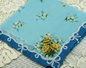 Vintage Blue Yellow Hankie - Frame It, Sew With It,  Quilt, Give as Gift #A-32