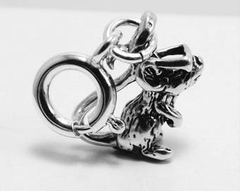 Sterling Silver Schoolhouse Mouse Charm on a Sterling Silver Spring Ring - 2797