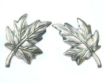 Vintage Sterling Silver Leaf Earrings Screwback Signed Jewel Art Midcentury Collectible Jewelry For Women Maple Leaf Estate Jewelry