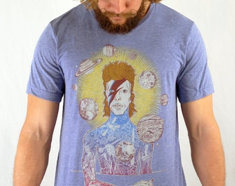FREE SHIPPING - UNISEX - Paul Carpenter Art - David Bowie - Life On Mars - Ziggy Stardust - Rock Art Tee - Rock and Roll Art t shirt