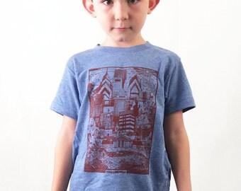 FREE SHIPPING -- YOUTH Philadelphia Skyline Illustration, Paul Carpenter Art -- Toddler and Children Philly Tee Shirt