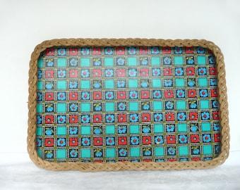 Retro tea tray - mid century tray - vintage breakfast tray - 1960s serving tray - 1970s wicker tray