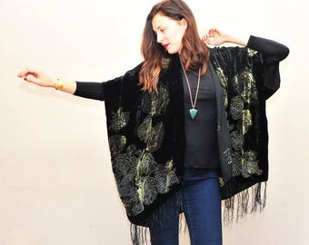 Velvet Kimono: Green and Black Floral, Semi Sheer, Shawl, Wrap, Beach, Cover-Up, Velvet Burnout, Fringe, Poncho