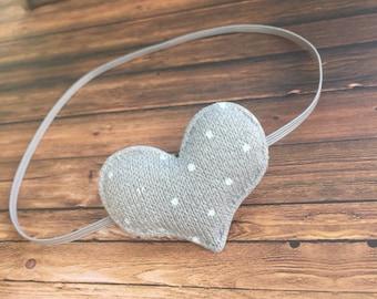 Sweater Heart Headband, Baby Girl Headband, Grey Heart Headband, Baby Headband, Valentine's Day, Baby Bows, Baby Girl Valentine's