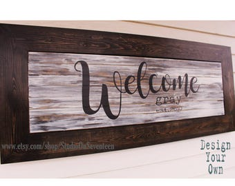 Custom Exterior Personalized Welcome Sign - Outdoor Sign - Porch Sign - Established Sign - Family Name Sign - Framed Wood Slat Sign - 18x43