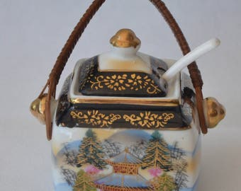 """eb2082 Vintage JAPAN Honey Pot - the pot by itself measures 2.75"""" tall and 2.75"""" wide"""