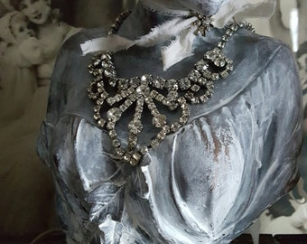 Vintage Crystal Necklace 1950's Vintage Bling OR Shabby & Chic Home Decor