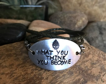 What you think you become olive green leather wrap bracelet with hand stamped oval aluminum plate and crystal