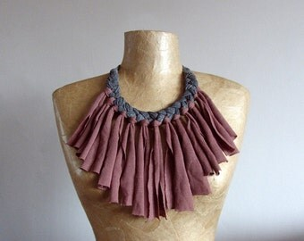 Fabric necklace with fringe, bib, choker, upcycled recycled repurposed, grey and mink brown. Handmade OOAK jewellery, unique gift for her.