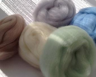 5 Lovely soft & fine, Felting Wools, Needle-felting or Wet-felting.