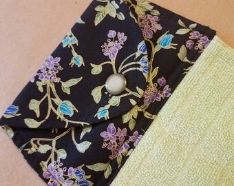 Floral Hanging Kitchen Towel, Gold Accent Dish Towel, Purple and Blue Flowers, Spring Button Top Towel, Summer Kitchen Linens, Everyday Home