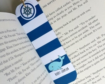Nautical Paper Bookmark Kids Book Lover Gift Bookworm Gift Personalized Book Club Bookmark Journal Bookmark Planner Page Marker Teacher Gift