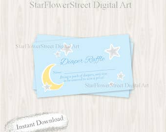 Moon and Stars Baby Shower star Raffle tickets moon game raffle over the moon twinkle twinkle little star boy blue printable download