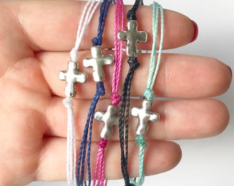 Waxed cord cross bracelet, silver or gold cross, blue pink mint turquoise black white gray purple bracelet, adjustable dainty