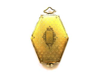 Antique Art Deco Hexagonal Locket with Inner Six Sided Frames and Celluloid Covers  Circa 1920