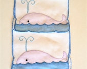 Vintage Linen Cocktail Napkins, Whales, Nautical, Whimsical Kitsch Great Find, Lot of 2